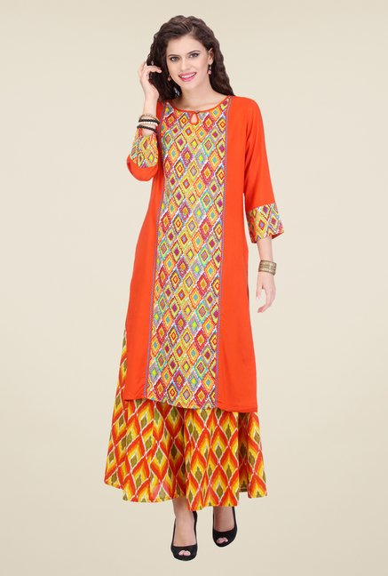 Varanga Orange & Yellow Printed Kurta With Palazzo
