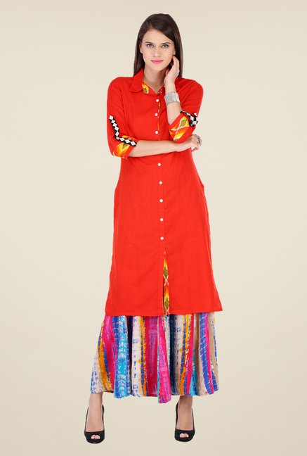 Varanga Red Solid Kurta With Palazzo