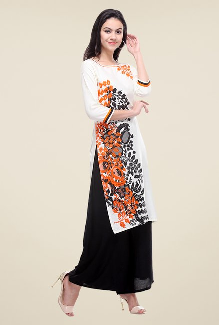 Varanga Off White & Black Printed Kurta With Palazzo