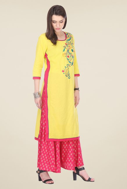 Varanga Yellow & Pink Embroidered Kurta With Palazzo