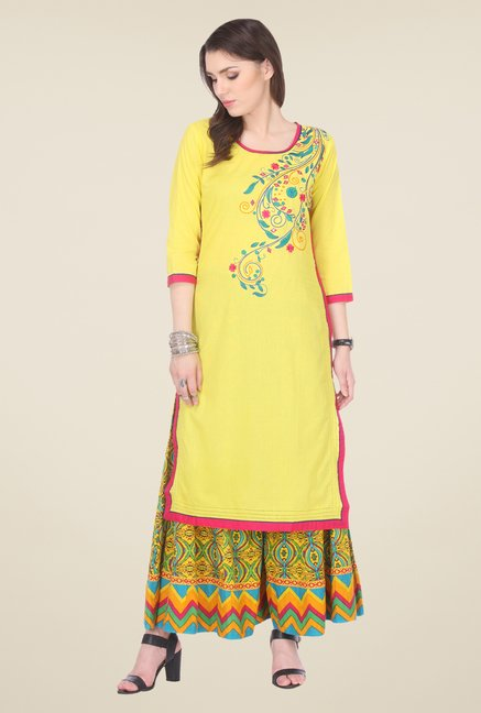 Varanga Yellow Embroidered Kurta With Palazzo