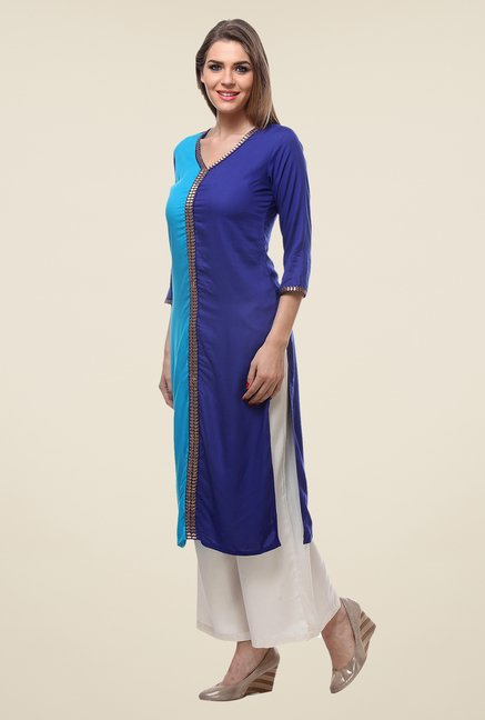 Varanga Blue & Cream Solid Kurta With Palazzo