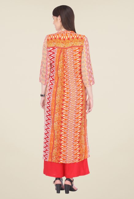 Varanga Red Printed Kurta With Palazzo