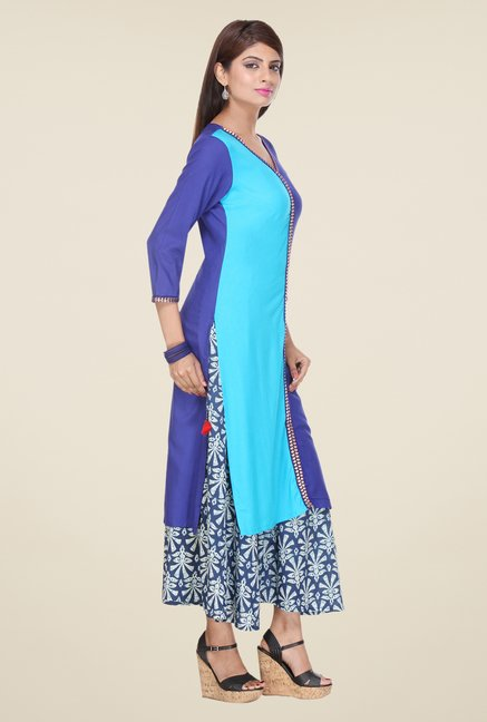 Varanga Blue & Navy Solid Kurta With Palazzo