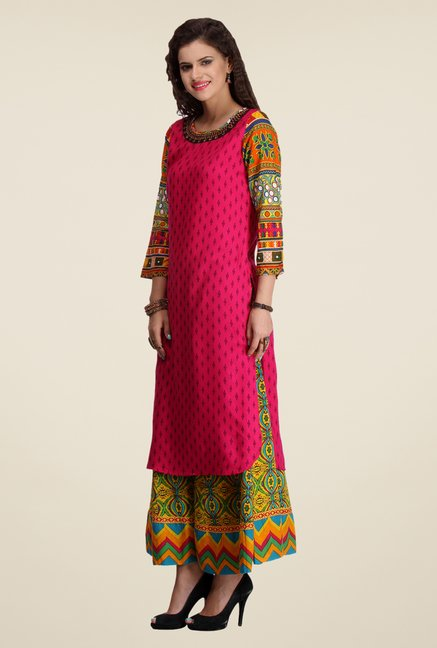 Varanga Pink & Yellow Printed Kurta With Palazzo