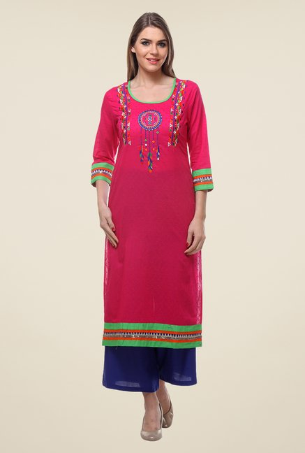 Varanga Pink & Navy Embroidered Kurta With Palazzo