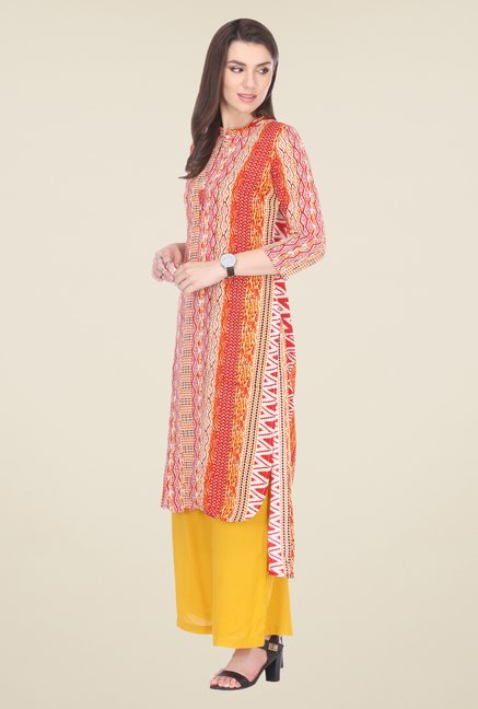 Varanga Red & Mustard Printed Kurta With Palazzo