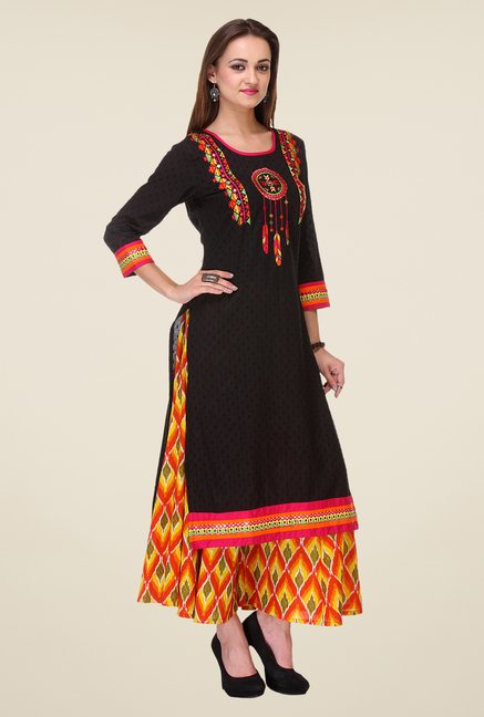 Varanga Black & Orange Embroidered Kurta With Palazzo