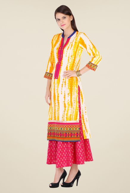 Varanga Yellow & Pink Printed Kurta With Palazzo