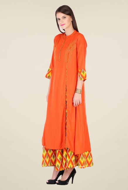 Varanga Orange & Yellow Solid Kurta With Palazzo
