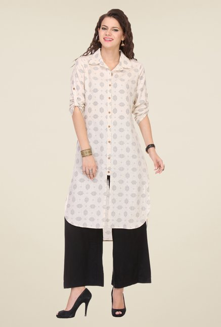 Varanga Cream & Black Printed Kurta With Palazzo
