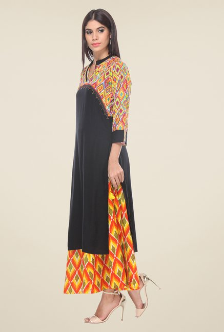 Varanga Black & Yellow Printed Kurta With Palazzo