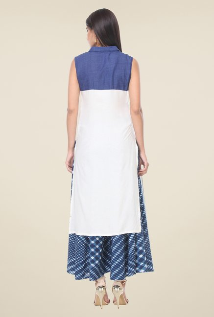 Varanga White & Blue Solid Kurta With Palazzo
