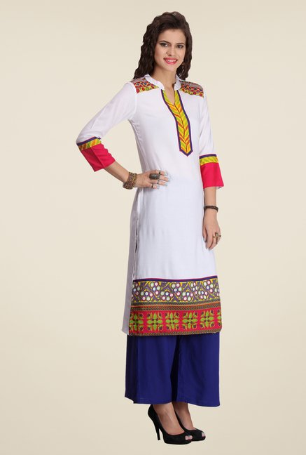 Varanga White & Blue Printed Kurta With Palazzo