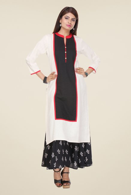 Varanga White & Black Solid Kurta With Palazzo