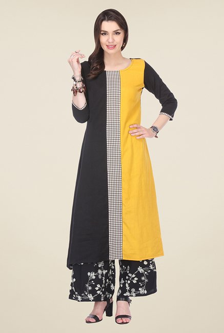 Varanga Yellow & Black Solid Kurta With Palazzo