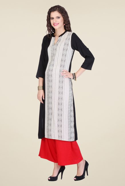 Varanga Black & Red Printed Kurta With Palazzo