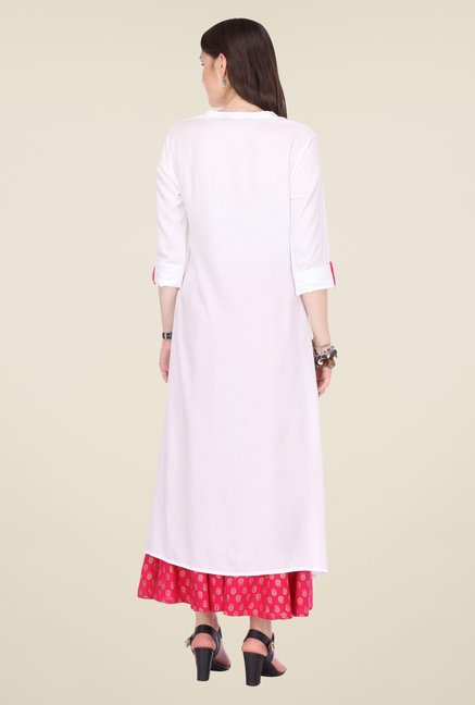 Varanga White & Pink Embroidered Kurta With Palazzo