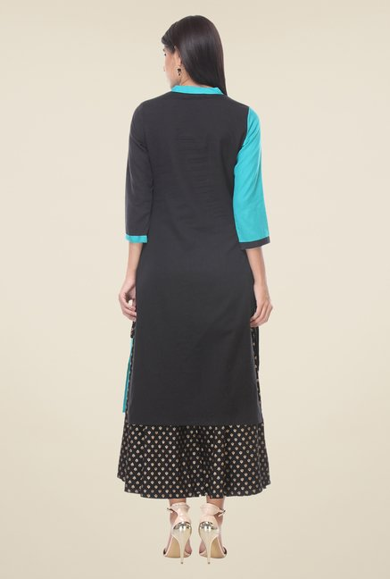 Varanga Blue & Black Embroidered Kurta With Palazzo