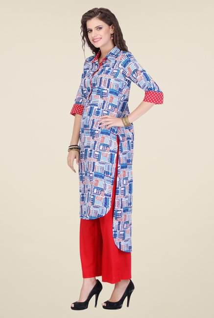 Varanga Blue & Red Printed Kurta With Palazzo