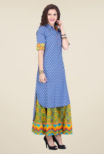 Varanga Blue & Yellow Printed Kurta With Palazzo