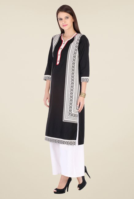 Varanga Black & White Embroidered Kurta With Palazzo
