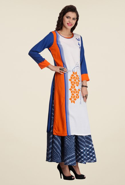 Varanga White & Navy Printed Kurta With Palazzo
