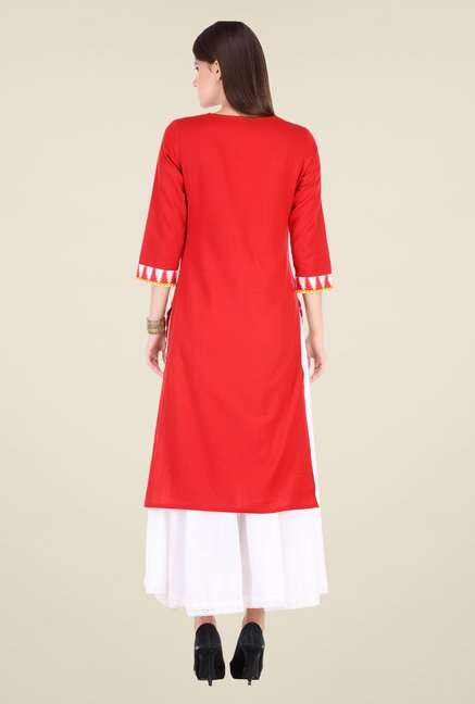 Varanga Red & White Printed Kurta With Palazzo