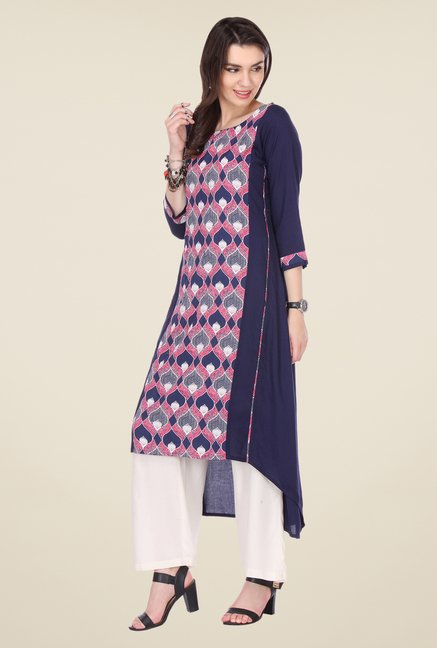 Varanga Navy & White Printed Kurta With Palazzo