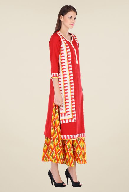 Varanga Red & Yellow Printed Kurta With Palazzo