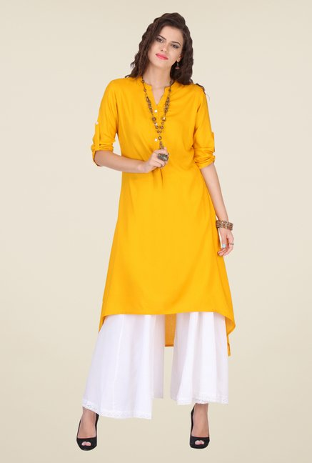 Varanga Yellow & White Solid Kurta With Palazzo
