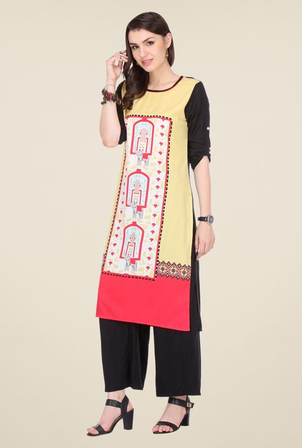 Varanga Yellow & Black Printed Kurta With Palazzo
