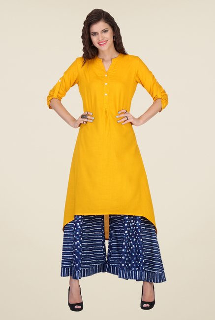 Varanga Yellow & Navy Solid Kurta With Palazzo