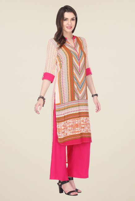 Varanga Orange & Pink Printed Kurta With Palazzo