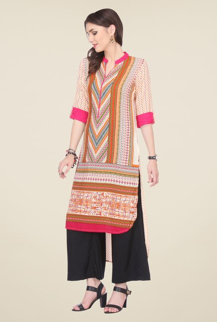 Varanga Orange & Black Printed Kurta With Palazzo