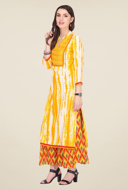 Varanga Yellow & Orange Printed Kurta With Palazzo