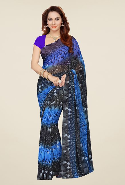 Ishin Black & Blue Printed Cotton Saree (Pack Of 2)