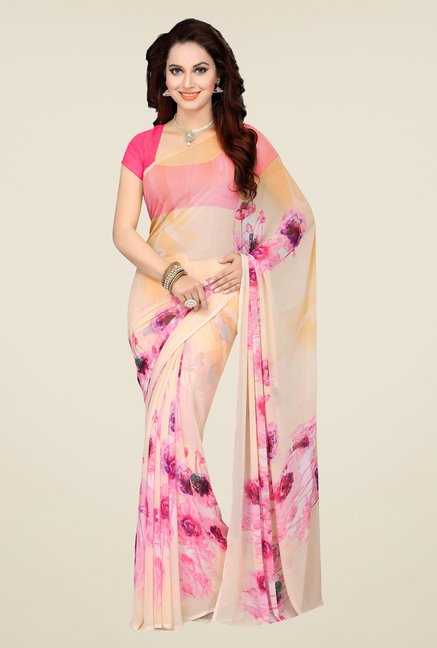 Ishin Grey & Peach Printed Cotton Saree (Pack Of 2)