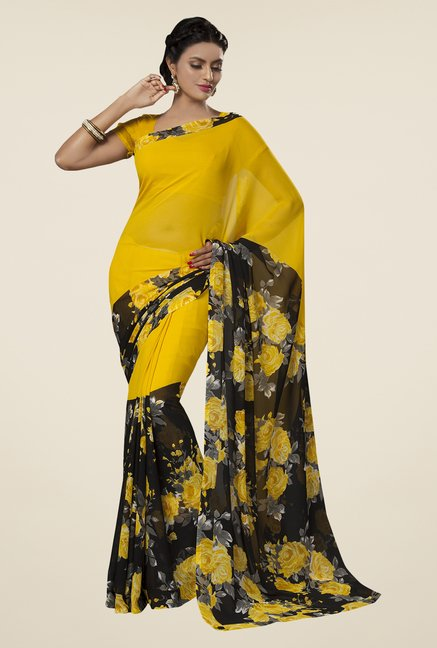 Ishin Yellow, Blue & Olive Printed Cotton Saree (Pack Of 3)