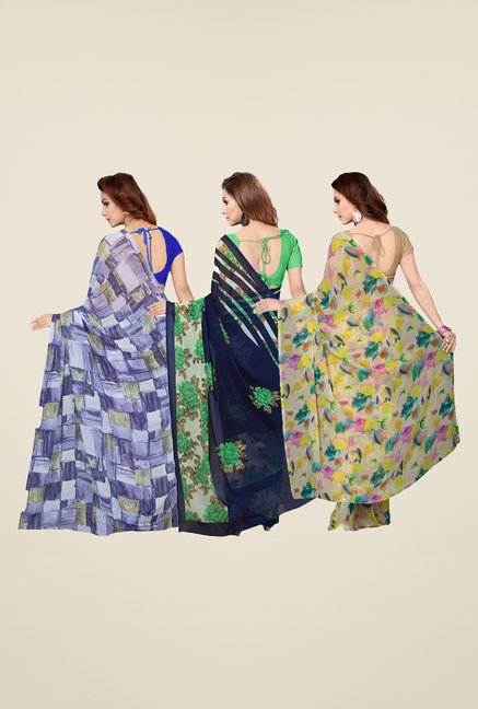 Ishin Beige, Navy & Blue Printed Cotton Saree (Pack Of 3)