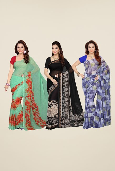 Ishin Green, Black & Blue Printed Cotton Saree (Pack Of 3)
