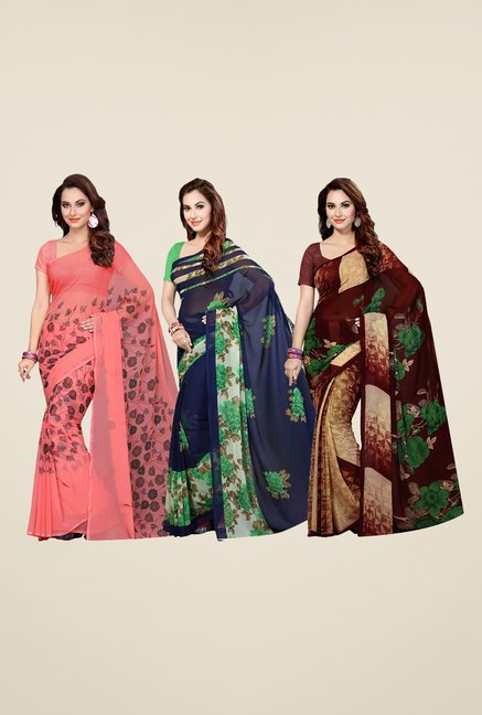 Ishin Peach, Navy & Maroon Cotton Saree (Pack Of 3)