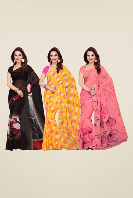 Ishin Brown, Yellow & Peach Printed Cotton Saree (Pack Of 3)