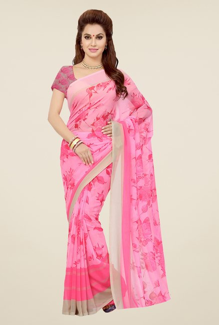 Ishin Pink & Navy Printed Cotton Saree (Pack Of 2)
