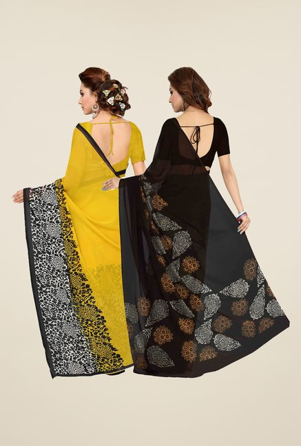 Ishin Brown & Yellow Printed Cotton Saree (Pack Of 2)