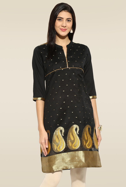Mytri Black Embroidered Kurta