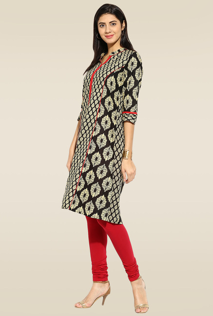 Mytri Black & Gold Printed Cambric Mandarin Collar Kurta