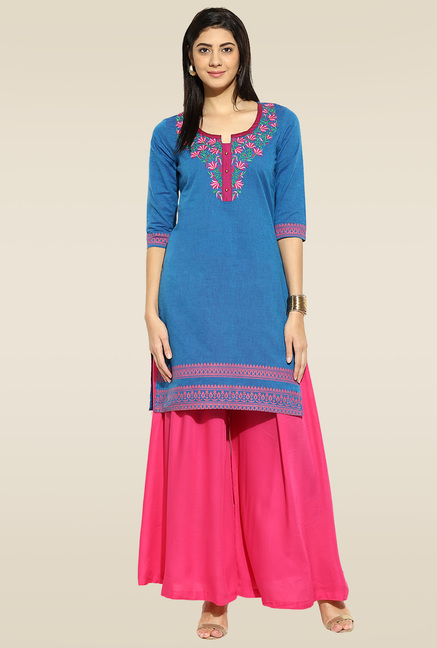 Mytri Blue 3/4th Sleeves Kurta