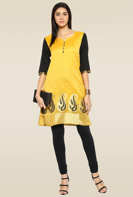 Mytri Yellow Embroidered Kurta