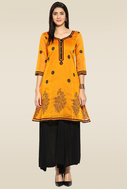Mytri Yellow 3/4th Sleeves Kurta